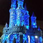 blue lighting on castle