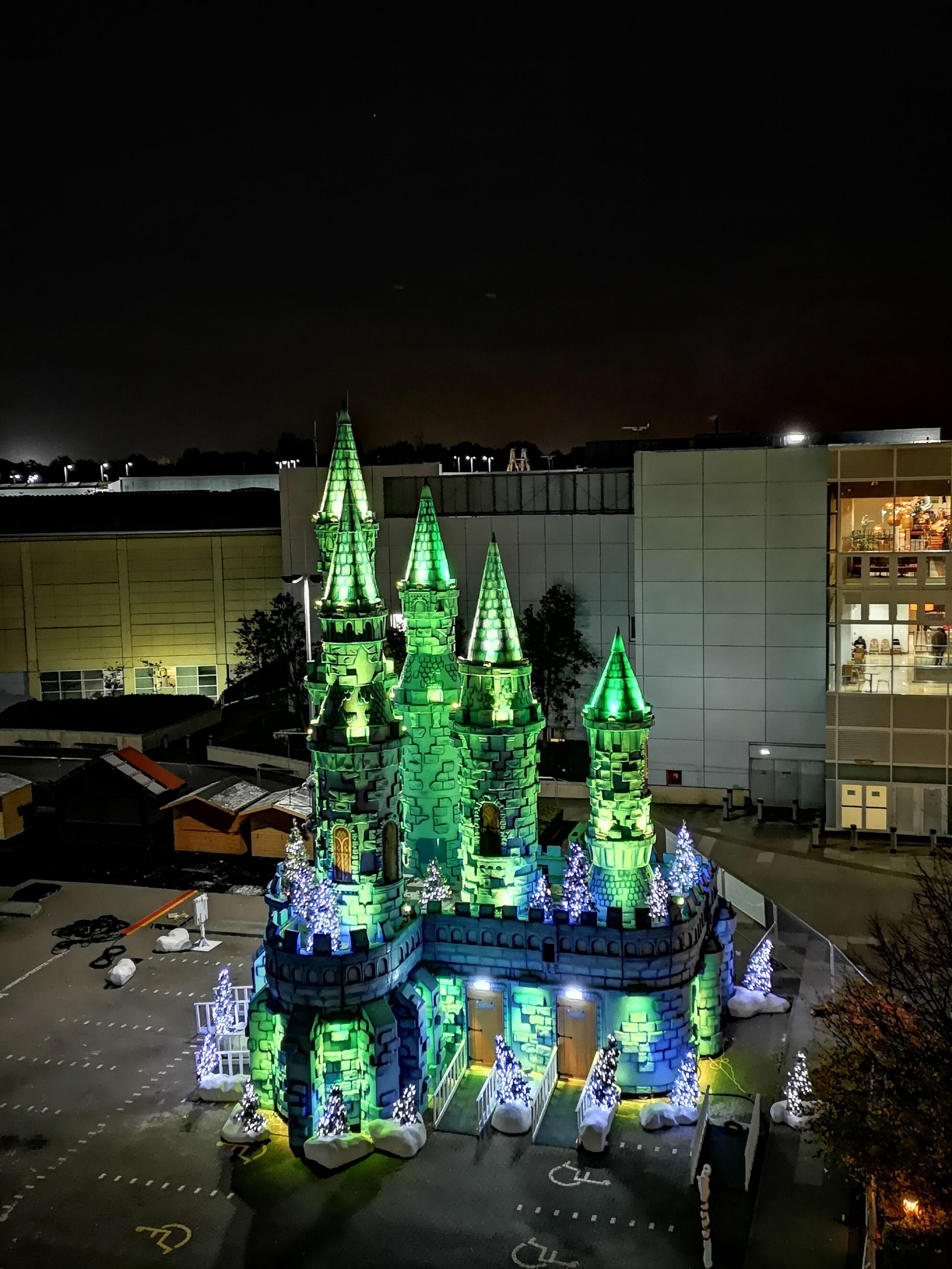 Castle Towers lit up